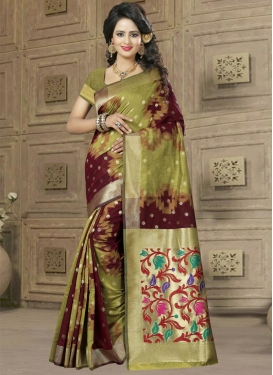 Banarasi Silk Maroon and Olive Resham Work Classic Saree