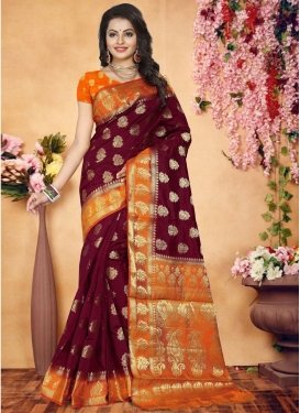 Banarasi Silk Maroon and Orange Traditional Saree