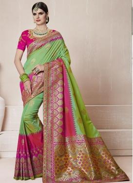 Banarasi Silk Mint Green and Rose Pink Trendy Saree For Ceremonial