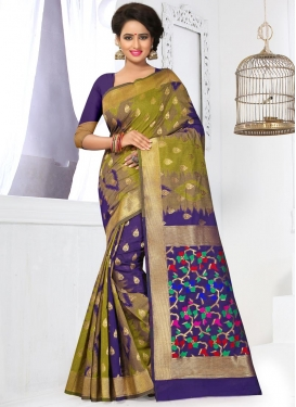Banarasi Silk Navy Blue and Olive Resham Work Contemporary Saree