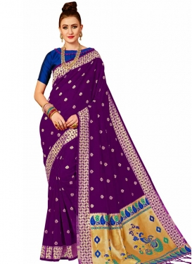 Banarasi Silk Navy Blue and Purple Thread Work Trendy Classic Saree