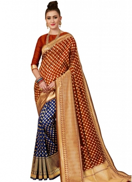 Banarasi Silk Navy Blue and Red Half N Half Trendy Saree For Ceremonial