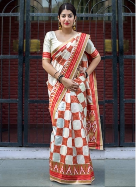 Banarasi Silk Off White and Red Trendy Classic Saree For Ceremonial