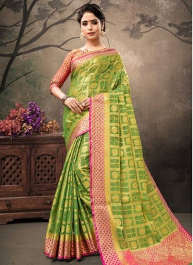 Banarasi Silk Olive and Rose Pink Designer Contemporary Saree