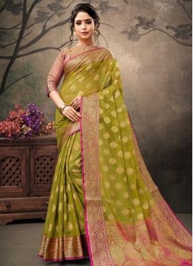 Banarasi Silk Olive and Rose Pink Designer Traditional Saree For Ceremonial