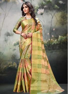 Banarasi Silk Olive and Salmon Thread Work Traditional Saree