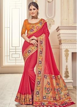 Banarasi Silk Orange and Rose Pink Embroidered Work Contemporary Style Saree