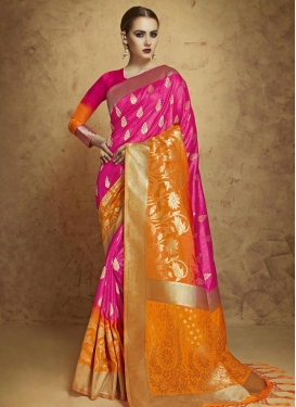 Banarasi Silk Orange and Rose Pink Thread Work Traditional Saree
