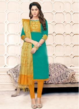 Banarasi Silk Orange and Sea Green Churidar Salwar Kameez