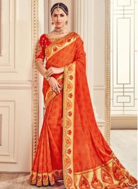 Banarasi Silk Orange and Tomato Contemporary Saree For Ceremonial