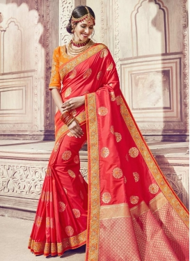 Banarasi Silk Orange and Tomato Trendy Classic Saree