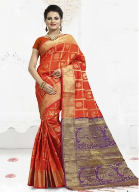 Banarasi Silk Orange and Violet Classic Saree For Ceremonial