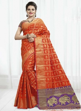 Banarasi Silk Orange and Violet Thread Work Contemporary Style Saree