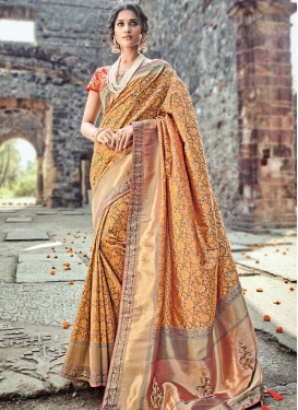 Banarasi Silk Peach and Red Trendy Saree