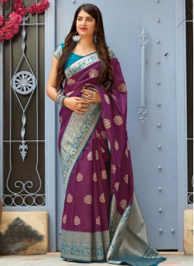 Banarasi Silk Purple and Teal Contemporary Saree For Festival