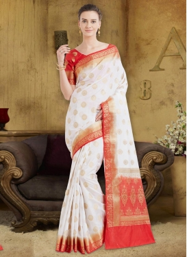 Banarasi Silk Red and White Trendy Saree For Festival