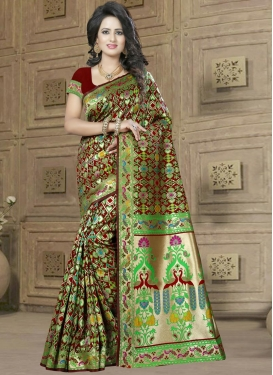 Banarasi Silk Resham Work Contemporary Saree For Ceremonial