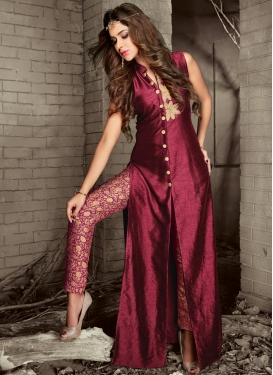 Banarasi Silk Resham Work Pant Style Designer Salwar Kameez