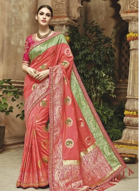 Banarasi Silk Rose Pink and Salmon Contemporary Saree