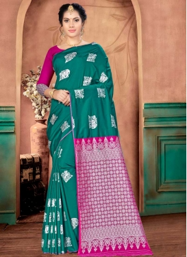 Banarasi Silk Rose Pink and Teal Designer Contemporary Saree For Casual