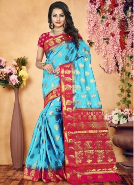 Banarasi Silk Rose Pink and Turquoise Thread Work Trendy Saree