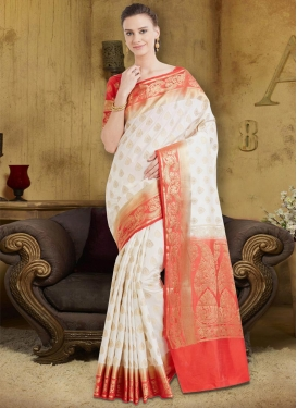 Banarasi Silk Salmon and White Thread Work Trendy Classic Saree