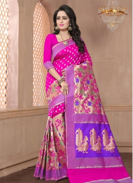 Banarasi Silk Thread Work Beige and Rose Pink Contemporary Style Saree