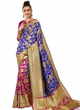 Banarasi Silk Thread Work Blue and Rose Pink Half N Half Designer Saree