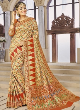 Banarasi Silk Thread Work Contemporary Saree