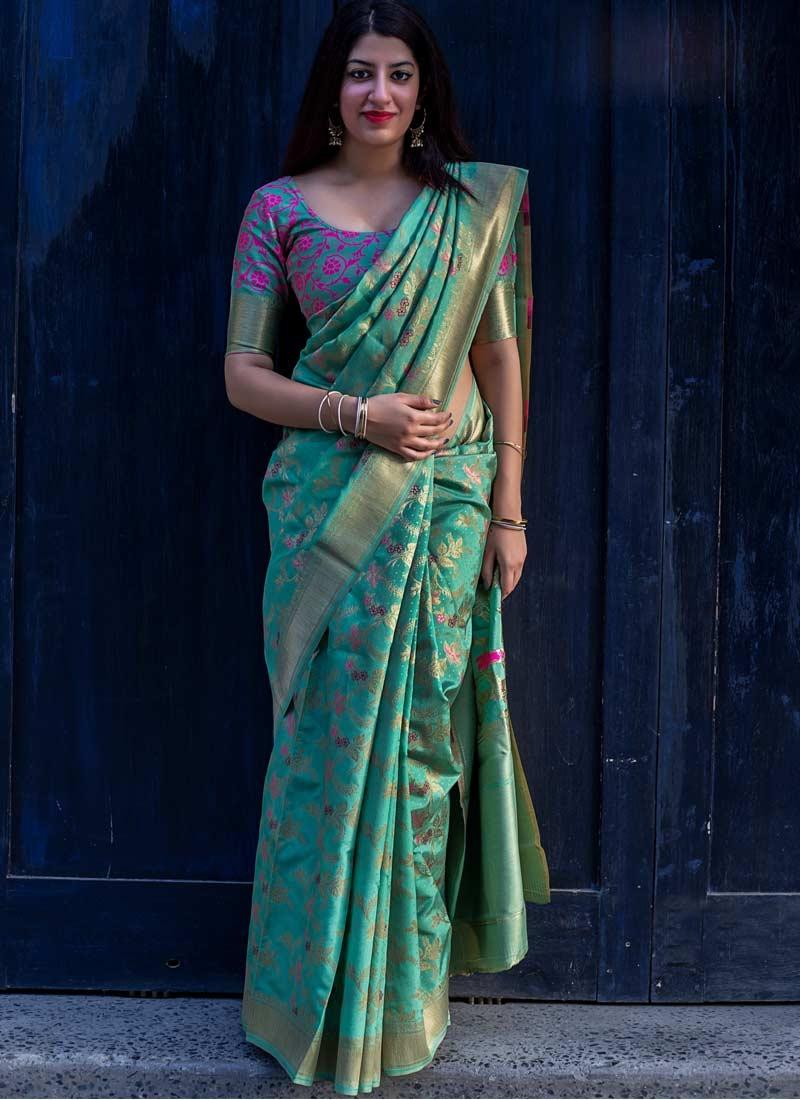 Banarasi Silk Thread Work Contemporary Style Saree