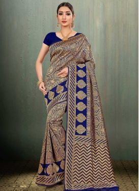 Banarasi Silk Thread Work Designer Contemporary Saree