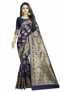 Banarasi Silk Thread Work Designer Contemporary Style Saree