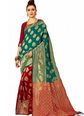 Banarasi Silk Thread Work Green and Red Half N Half Saree