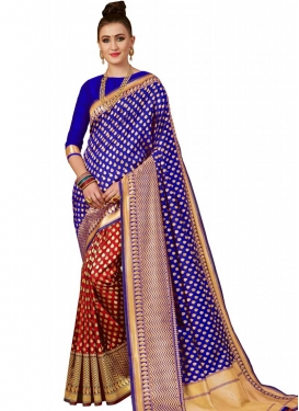 Banarasi Silk Thread Work Half N Half Trendy Saree