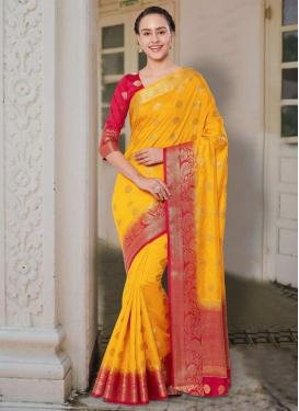 Banarasi Silk Thread Work Mustard and Red Classic Saree