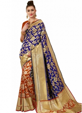 Banarasi Silk Thread Work Navy Blue and Orange Half N Half Designer Saree