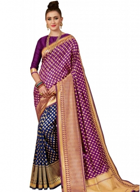 Banarasi Silk Thread Work Navy Blue and Purple Half N Half Designer Saree