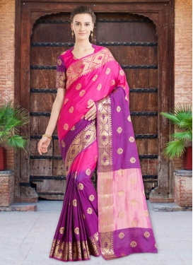 Banarasi Silk Thread Work Purple and Rose Pink Contemporary Style Saree