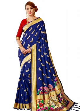 Banarasi Silk Thread Work Traditional Designer Saree