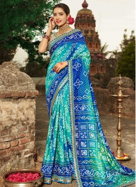 Bandhej Print Work Blue and Turquoise Traditional Saree
