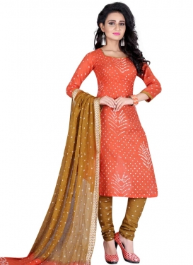 Bandhej Print Work Churidar Punjabi Suit