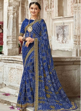 Bandhej Print Work Faux Georgette Contemporary Style Saree