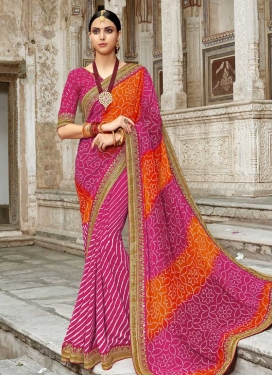 Bandhej Print Work Faux Georgette Half N Half Trendy Saree For Ceremonial