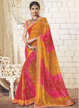 Bandhej Print Work Faux Georgette Mustard and Rose Pink Classic Saree