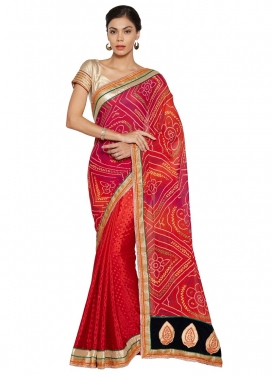 Bandhej Print Work Faux Georgette Orange and Red Designer Half N Half Saree