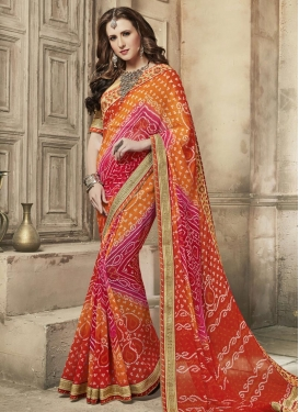 Bandhej Print Work Faux Georgette Orange and Red Trendy Classic Saree