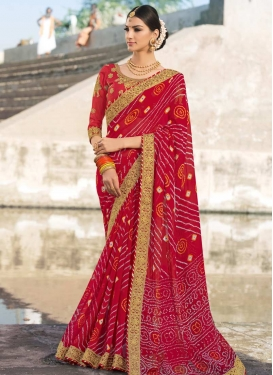 Bandhej Print Work Faux Georgette Traditional Saree