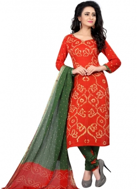Bandhej Print Work Green and Orange Churidar Punjabi Salwar Kameez