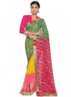 Bandhej Print Work Green and Rose Pink Half N Half Saree