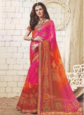 Bandhej Print Work Orange and Rose Pink Traditional Saree